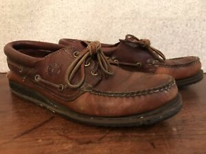 TIMBERLAND BROWN LEATHER BOAT SHOES•USA-Men 9.5 Deck Casual Moccasin Loafer Slip