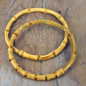 Bamboo Bag Handles, natural small handbag size,  5 inch Circular Small BH29