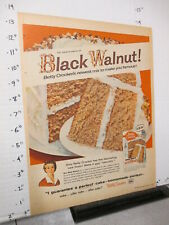 newspaper ad 1957 BETTY CROCKER cake mix box Black Walnut baking frosting