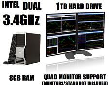 DELL 4-MONITOR TRADING COMPUTER w/PENTIUM DUAL 3.4GHz✓8GB✓1TB HD✓WIN7+ DESKTOP