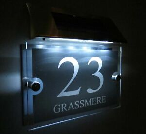 MODERN SOLAR LIGHT LED House Signs Plaques Door Numbers 1 - 9999 street Name