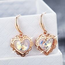 18K Rose Gold Filled Made With SWAROVSKI Crystal Round Heart Dangle Earrings