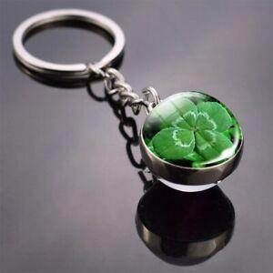 3D Luxus Schlüsselanhänger Kugel + Kleeblatt Glücksbringer massiv rund Glas 04
