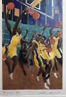 Original Serigraph Of Basketball Players Titled The Lakers. Pencil Signed.