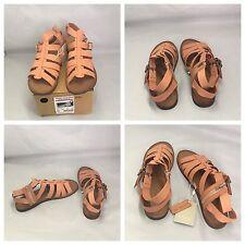 ZARA fille rose en cuir véritable Gladiator Soft plates Sandales zippées UK 4,5