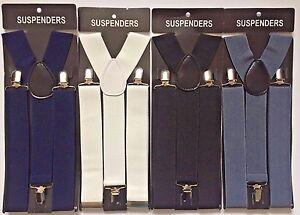 GENTS MENS 35mm WIDE ADJUSTABLE BRACES SUSPENDERS ELASTIC PLAIN COLOURS CLASSIC