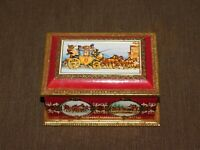 "VINTAGE 6 3/4"" X 4 3/4"" X 3 1/2"" WESTERN GERMANY HORSES COACH  CANDY TIN *EMPTY*"