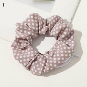 Gradient Color Hair Ring Zipper Scrunchies Pocket Scrunchie With Zip Laser Cloth