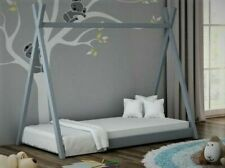 Kids Children Teepee & Tree House Solid Pine Wood Single Bed Grey Kids & Adult