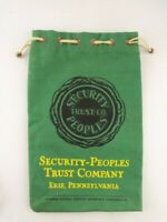 Vtg Canvas Bank Bag Security-Peoples Trust Company Erie Pennsylvania PA, Green