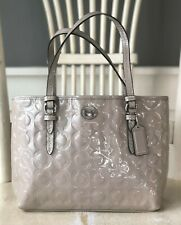 COACH Peyton OP Art Embossed Putty Patent Leather Small Tote F50540