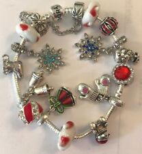 ❤️Authentic PANDORA CHRISTMAS BRACELET 🎄with European Charms Beads & Box #3❤️