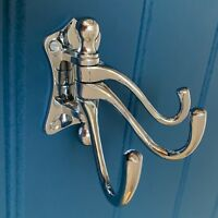 CHROME COAT HOOK TRIPLE MULTI DOOR HANDLES HANGER KNOBS