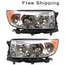 Halogen Head Lamp Assembly Set of 2 LH & RH Side Fits Subaru Forester 2005-2008