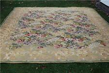 "Vintage Wool Tapestry Carpet Rug 11'7"" x 8'6"" Tropical Floral & Palm Tree Motif"