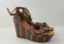 Rocket Dog Wedge Platform Multi Stripe Strap Size 8 EU 41 Summer