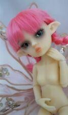 "OOAK Norm skin tiny 5 1/2"" Nabiyette BJD dollhouse fairy elf PINK wig doll"