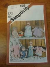 """Vtg 80s Simplicity sewing Pattern#5615-Doll Clothes for small 13""""-14"""" sz Doll"""