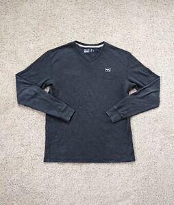 Billabong Shirt Men's Medium Gray Long Sleeve V Neck Cotton Surf Casual