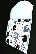 Baby, newborn sleeping bag nap mats 0-6 m. Soft warm cats in white. Fully zipped
