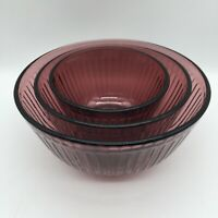 SET OF 3 PYREX CRANBERRY PURPLE RIBBED NESTING MIXING BOWLS 7401s 7402s 7403s