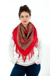 New Authentic Russian Pavlovo Posad Scarf Shawl 100% Wool