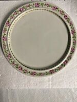 Limoges GDA France Plate 6-1/2 Inches Round Pink White. Floral Rim