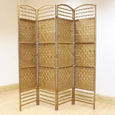 Beige 4 Panel Wicker Room Divider Hand Made Privacy Screen/Separator/Partition