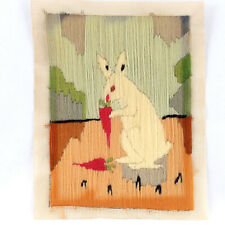 Antique Vintage 1930s Wool Needlepoint Embroidery Bunny Rabbit Carrot Easter