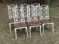 Set Mid Century Chinoiserie Faux Bamboo Cast Aluminum Dining Chairs