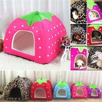 Soft Strawberry Pet Dog Cat Bed House Kennel Doggy Fashion Cushion Basket S-2XL