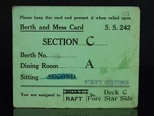 Authentic S.S. 242 Berth And Mess Card Submarine USS Bluegill