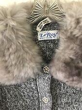 Vintage Leroy Gray Cardigan Knitwear w/ Fur Collar & Cuffs