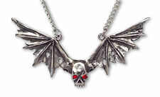Real Metal JewelryDistressed Wings Skull w Red Eyes Necklace