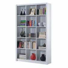 Tripple 5 Tier Ciara Bookcase Room Divider Display 15 Cube Shelf Unit in White