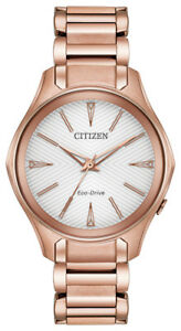 Citizen Eco-Drive Ladies EM0593-56A Modena Silver Dial Pink Gold Tone 36mm Watch