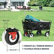 More details for wagon folding cart collapsible garden beach utility outdoor camping sports black