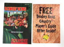 RARE! Donkey Kong Country 1 SUPER NINTENDO SNES INSTRUCTION MANUAL + Insert