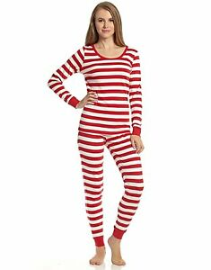 Leveret Women's Christmas Red/White Striped Fitted Pajamas 100% Cotton XS-XL