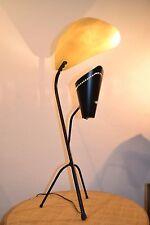 Grande lampe de table tripode en métal laqué noir et or et laiton - DESIGN 50'S