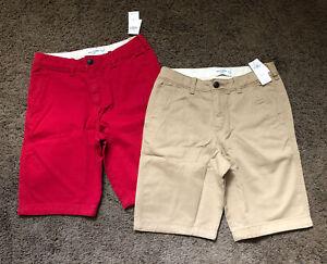 Boys Abercrombie Kids Shorts NEW NWT lot khaki red size 15/16 A&F fitch Tan
