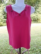 RQT Solid Pink Rayon Sweetheart Neck Casual/Career Knit Sleeveless Top Size M