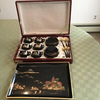 Asian Japan? Black Lacquer Coffee Tea Set In Box Hand Painted Vintage VERY RARE!