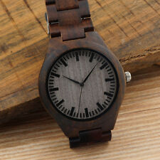 Luxury Men's Women's Bamboo Wood Watch Quartz PU Leather Casual Wristwatches RT