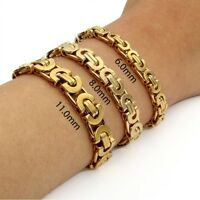 Hot Stainless Steel Bracelet Gold Tone Flat Byzantine Link Chain Mens 6/8/11mm