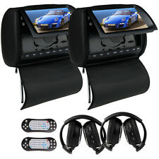 "Black 9"" HD Car DVD  Monitor Player Headrest Pillow+Cover FM USB +IR Headphone"