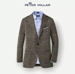 Peter Millar Windowpane Sport Jacket Blazer Wool/Silk/Linen Size 48 $998 NWT