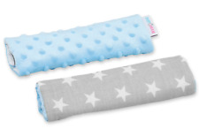 BABY SOFT BELT COVER CAR SEAT SHOULDER STRAP 2pc DIMPLE BLUE/SMALL STARS ON GREY