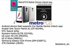 Metro PCS Android App Device Unlock LG K7 (MS330) - For Metro PCS phone ONLY