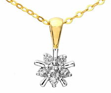 Naava 9ct Yellow Gold 0.10ct Diamond Flower Cluster Pendant 46cm Chain PP01371Y